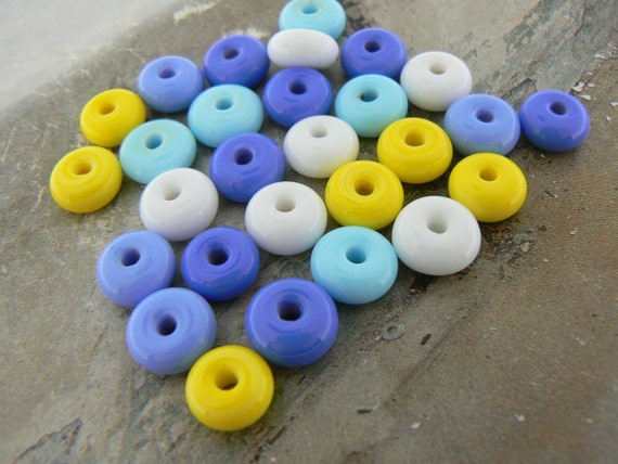Blue Sky Sunny Day....Mini Lampwork Glass Beads Spacers