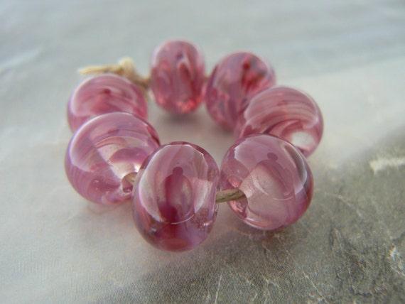 Pink Lipstick Swirl Glass Beads... Handmade Lampwork