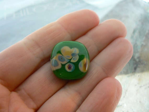 Sale... Green Raku Glass Focal Bead..