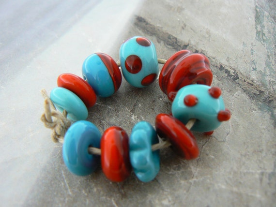 Turquoise Red Assorted Handmade Lampwork Glass Beads