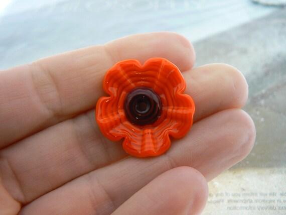 Orange Poppy Flower Lampwork Glass Bead Focal Pendant....