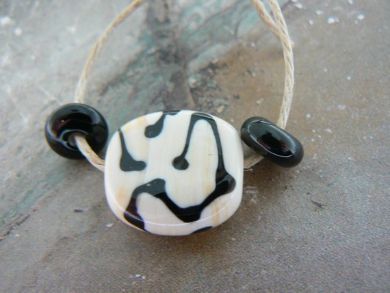 Black and Ivory Lampwork Glass Focal Bead...Free Beads