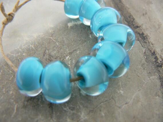 Encased Sky  Blue Handmade Lampwork Glass Beads...