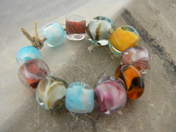 Assorted Encased Nuggets Handmade Lampwork Glass Beads