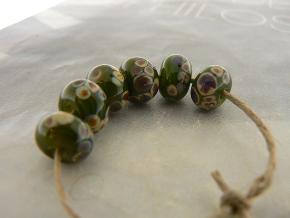 Jungle Green Raku Handmade Lampwork Glass Beads  Spacers