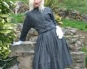 MEGA SALE 1950s style gray and black check full box pleated skirt - OOAK