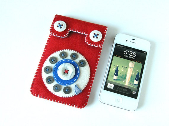 Dial Phone iPhone case No.67 (red & blue)