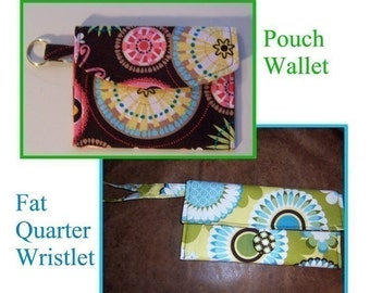 pdf Sewing Patterns - Fat Quarter Wristlet and Key Chain Pouch Wallet - perfect learn to sew projects - Instant Download
