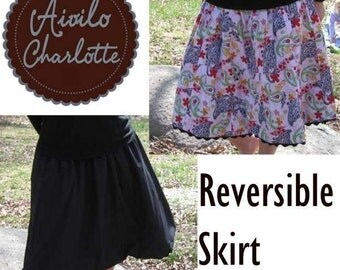 Reversible Skirt - easy pdf Sewing Pattern - for girls and ladies of all sizes - INSTANT DOWNLOAD