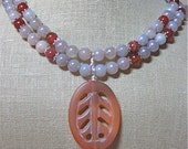 Pearls of Carnelian Choker with Leaf Pendent - N084