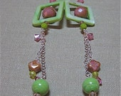 Reserved for Anne - Bright Green & Pink Not Just for Squares Framed Extreme Dangle Earrings  - E251