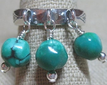 Natural Turquoise Slightly Southwest Dangle Ring - R152