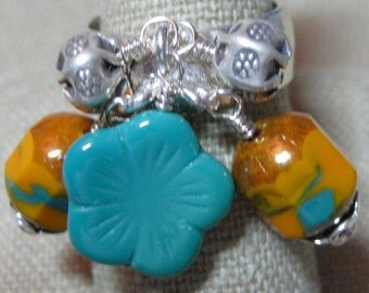 Orange with Turquoise Czech Glass Southwestern Sky Hammered Dangle Ring - R186
