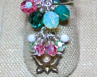 Green, Pink & White Swarovski Crystal Ohm My Lotus Double Cluster Dangle Ring - R191