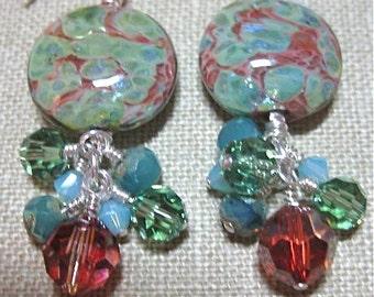Greens &Browns Handmade Glass - Seattle Cluster Dangle Earrings - E446