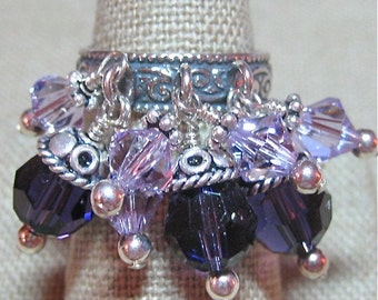 Purple Swarovski Crystal and Bali Silver Bold Cluster Ring - R035