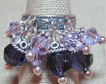 SALE - Purple Swarovski Crystal and Bali Silver Cluster Ring - R035