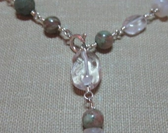 Lots of Stones and Porcelain Wire-Wrapped Necklace - N017