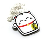 Lucky Cat Acrylic Charm Necklace on Silver Plated Chain - Kawaii Cute