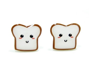 Bread Buddy 1 Toast Earrings | Sterling Silver Posts Studs | Gifts For Her