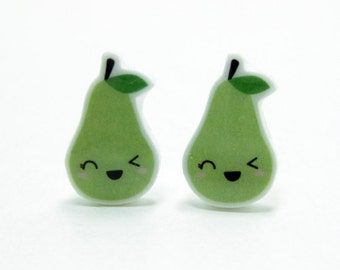 Green Pear Earrings | Sterling Silver Posts Studs | Gifts For Her