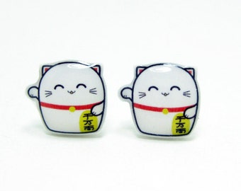Lucky Cat Earrings - White Sterling Silver Posts Studs Kawaii Cute