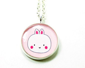 Bunny Necklace - Pink White Kawaii Cute Silver Plated 17 inch
