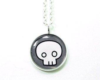 Skull Necklace | Skull Round Pendant | Silver Plated Chain
