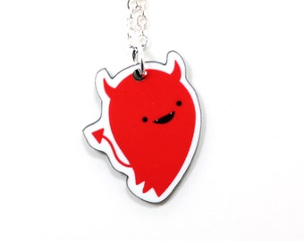 Devil Acrylic Charm Necklace on Silver Plated Chain