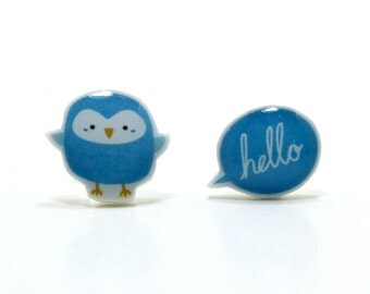 Little Blue Bird Earrings | Sterling Silver Posts Studs | Gifts For Her