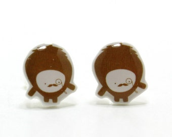 Brown Moustache Monster Earrings - Sterling Silver Posts Studs Kawaii Cute
