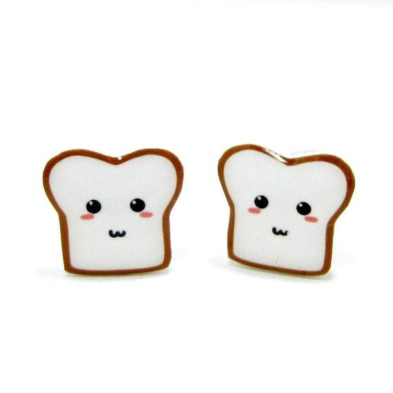 Bread Buddy 2 Toast Earrings - Sterling Silver Posts Studs Kawaii Cute
