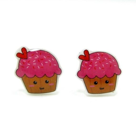 Pink Cupcake Earrings - Sterling Silver Posts Studs Kawaii Cute