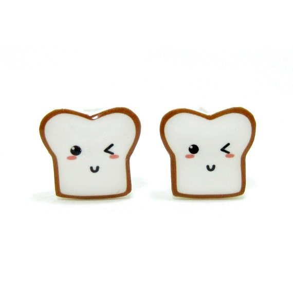 Bread Buddy 3 Toast Earrings - Sterling Silver Posts Studs Kawaii Cute