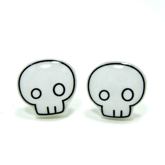 Skull Earrings | Sterling Silver Posts Studs | Gifts For Her