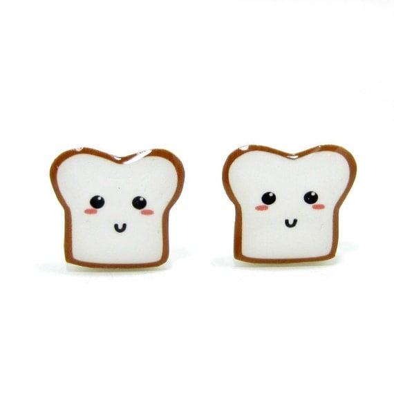 Bread Buddy 1 Toast Earrings - Sterling Silver Posts Studs