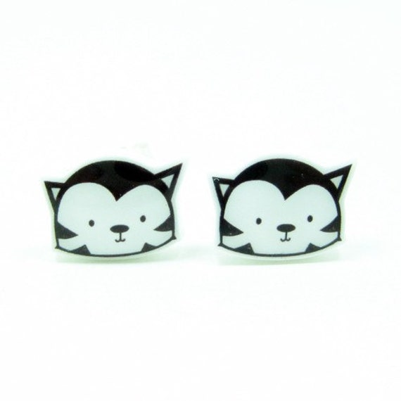 Black Cat Earrings   Sterling Silver Posts Stud   Gifts For Her