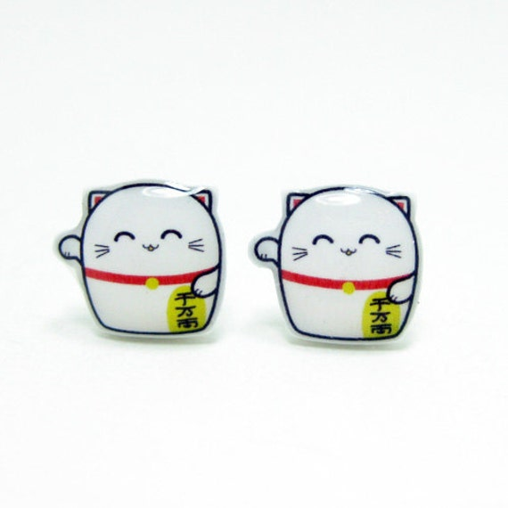 Small Lucky Cat Earrings | Sterling Silver Posts Studs | Gifts For Her