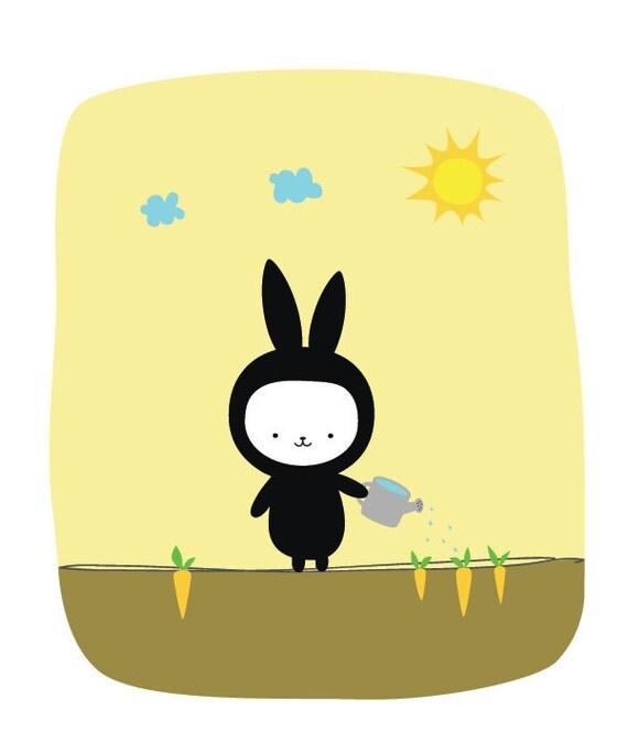 Black Bunny 8x10 Print