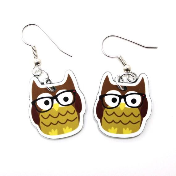 Nerdy Owl Acrylic Earrings on Surgical Steel Hooks