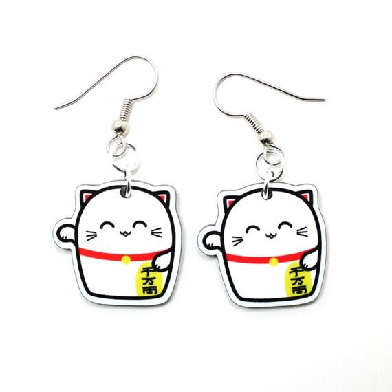 Lucky Cat Acrylic Charm Earrings on Sugical Steel Hooks