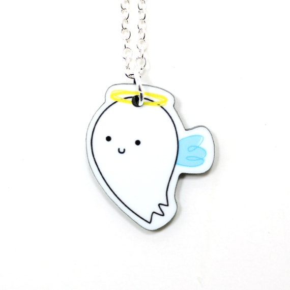 Angel Acrylic Charm Necklace on Silver Plated Chain - White Kawaii Cute