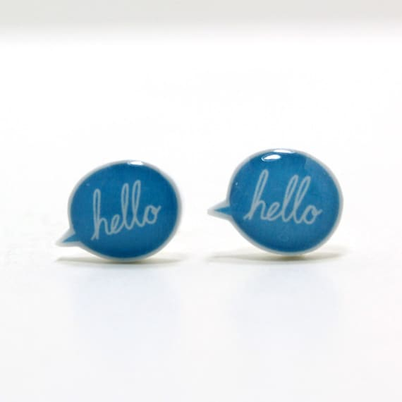 Blue Hello Speech Bubble Earrings | Sterling Silver Posts Studs | Gifts For Her