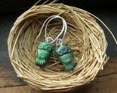Sweet Owl in Malachite earrings