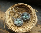 Rustic Bird Nest earrings Robin egg nest earrings bird egg earrings Sterling Silver bird nest earrings Mother Grandmother Mother's Day