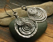 Hammered Wire work earrings wire wrapped earrings Etruscan Spiral earrings in sterling silver larger size sterling silver swirl earrings