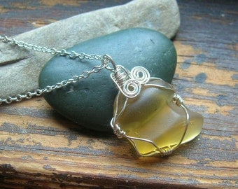 Sachuset Beach Genuine Yellow Sea Glass Necklace
