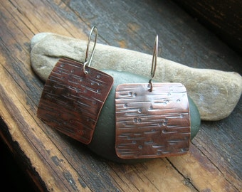 Copper Raindrops  Squared earrings