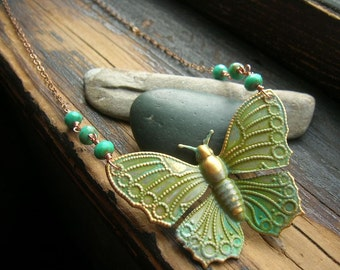 Floating Butterfly verdigris necklace