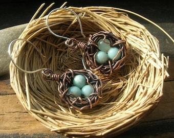 Rustic Nest earrings in copper Mother's Day